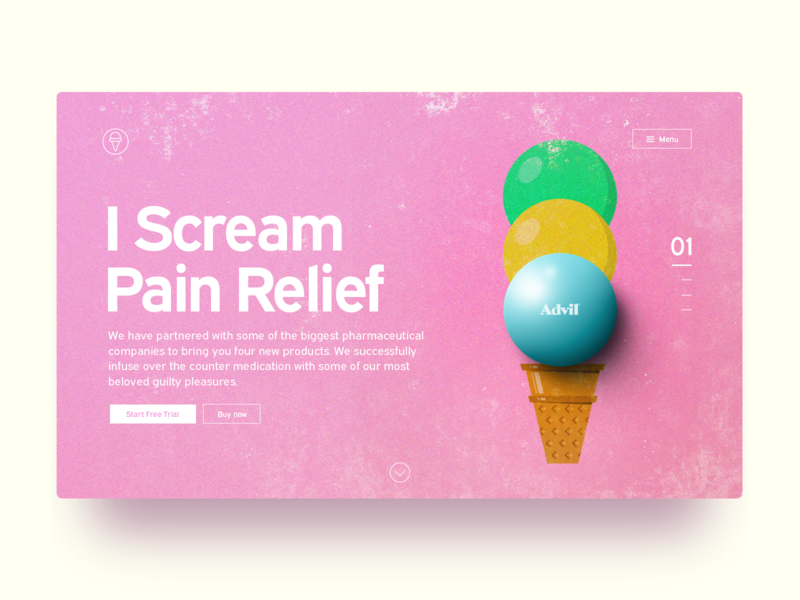 Pain Relief Landing Page 3d 2d pink color drugs advil illustration webdesign ui landingpage icecream