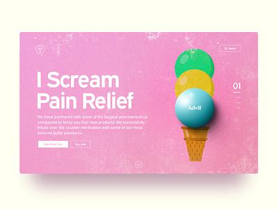 Pain Relief Landing Page 3d 2d pink color drugs advil illustration webdesign ui landingpage icecream