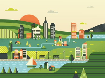 Olive city icon flat artwork graphic design