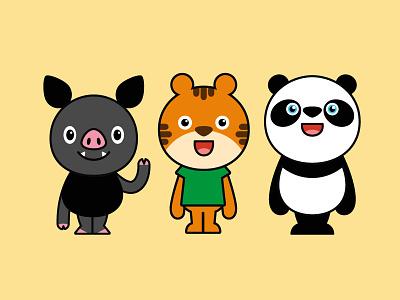 Olive Friends tiger korea retro identity branding logo icon illustration graphic design character design