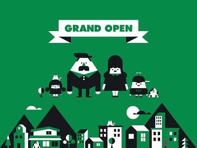 GRAND OPEN tiger korea retro identity branding logo icon illustration graphic design character design