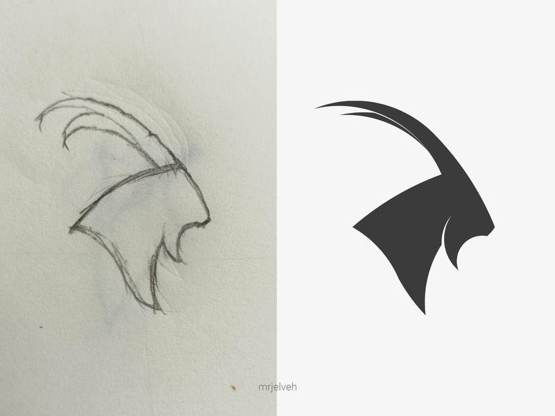 Ibex logo simple design illustration minimal mrjelveh brand doodling sketching logo design branding logo fibonacci nature wild goat ibex