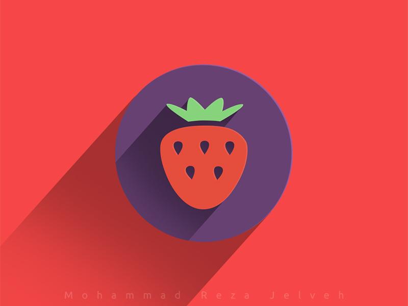 Strawberry mrjelveh minimal simple purple red sweet strawberry flat