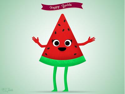 Yalda's Watermelon green smile mrjelveh yalda minimal simple red sweet watermelon flat