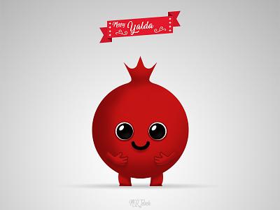 Yalda's Pomegranate cute green smile mrjelveh yalda minimal simple red sweet pomegranate flat