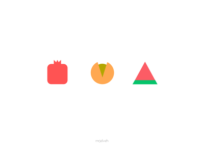 Yalda symbols symbols pomegranate pistachio watermelon iran vector design yalda sweet green red simple flat minimal mrjelveh