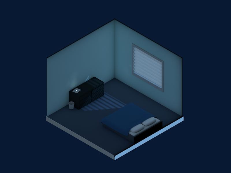 Moonlight mood dark blue cloth material shading lighting cartoon 3d cinema 4d c4d isometric