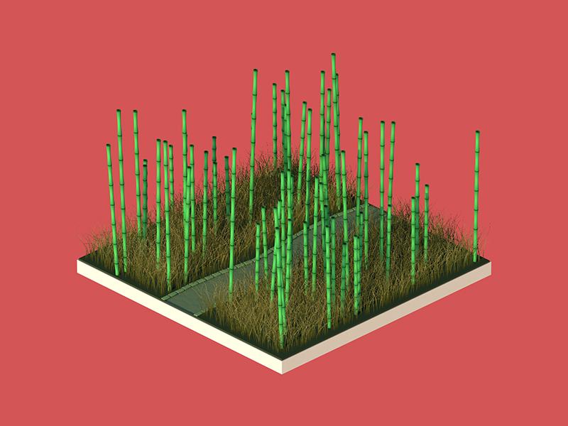 Bamboo Path design game grass asian shading lighting cartoon 3d cinema 4d c4d isometric