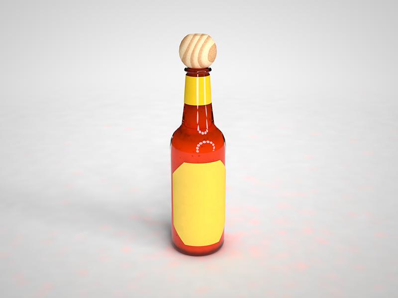Nectar of the Gods design food cholula light glass bottle packaging package modelling 3d c4d product