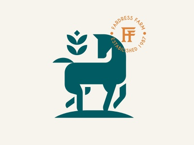 FF horse farm branding animal vector logo