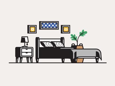 Bedroom illustration interior bedroom
