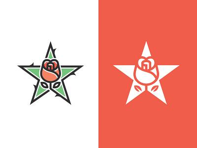 Rose X Star logo flower star rose