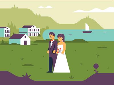 Wedding beach illustration wedding