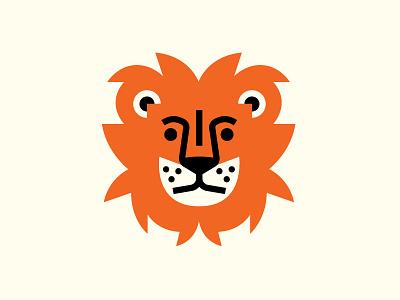 Cat animal design logo lion head patch badge lion cat