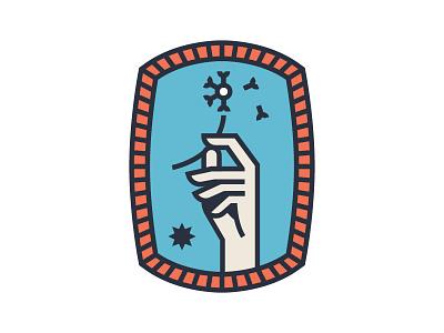 Dandelion logo design flower outline vector star hand badge patch dandelion