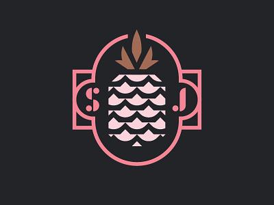 SJ typography design patch badge vector fruit pineapple logo