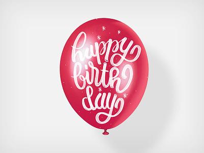 happy  birthday happy birthday lettering typo type red balloon present