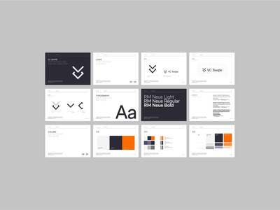 VC Swipe - Style Guide 3d typography interface minimal website ux ui design