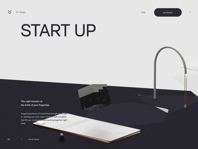 VC Swipe 3d typography interface minimal website ux ui design