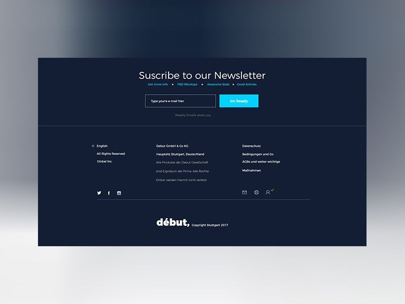 Debut dribbble footer