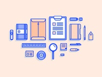 Office Supplies & Stationery Illustrations
