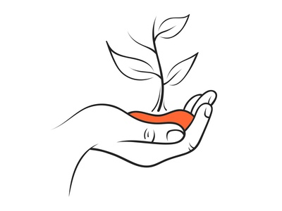 Hand Holding Seedling Illustration