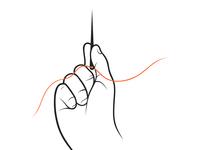 Hand Holding Needle Illustration