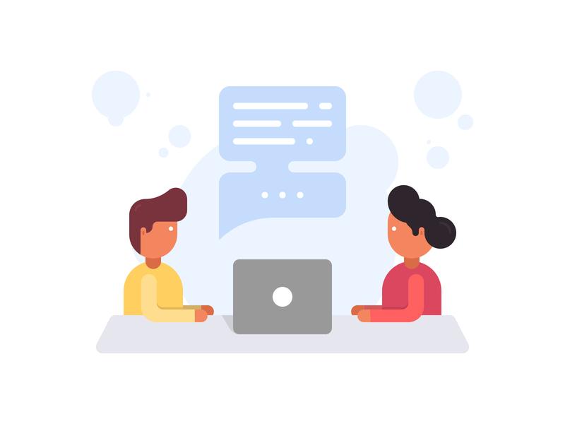 Customer Talking Illustration chat bubble talking customer customers vector illustrator simplicity simple minimal design creative web illustration clean