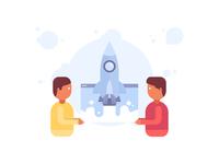 Rocket & People Illustration