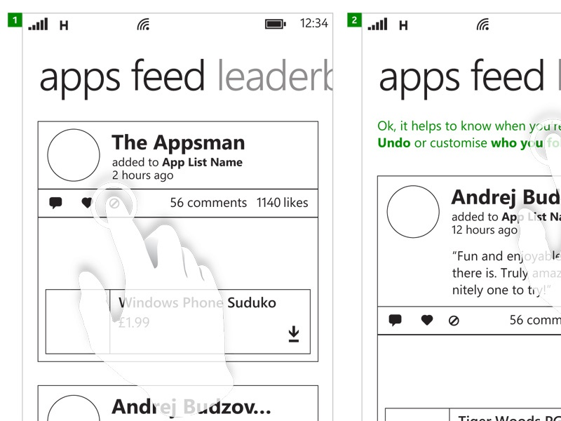 Not Interested wireframe ux social feedback actions wp windows phone