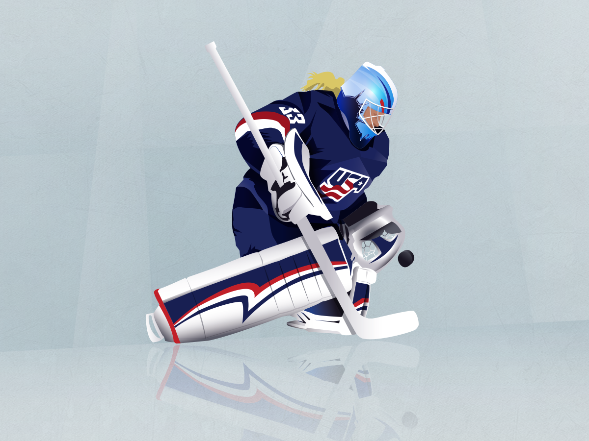 Women's Worlds hockey vintage sport retro icon vector illustration
