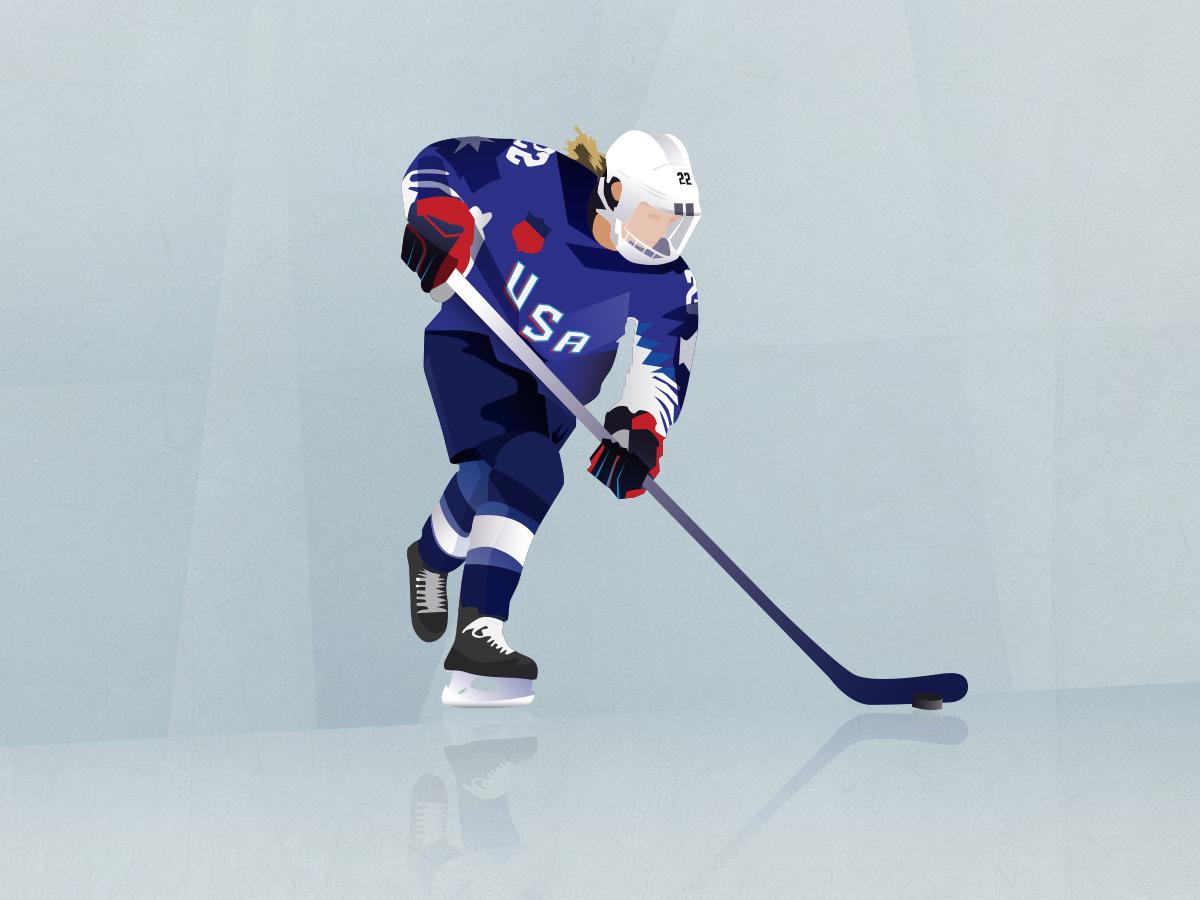 Women's Worlds portait hockey vintage sport retro icon vector illustration