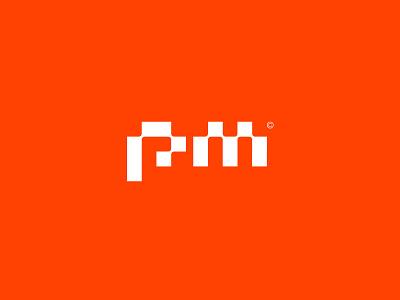 Rejected Logo Concept m logo p logo word mark etching branding identity logo logomark pm