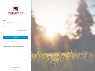 Log In page desktop app form trees red blue login log in