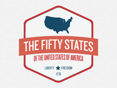 The Fifty States red blue america logo