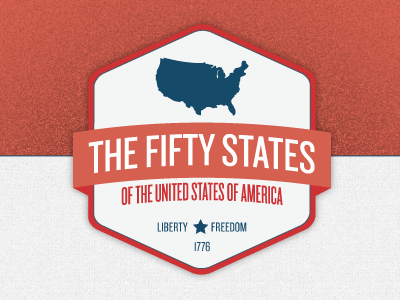 The Fifty States texture grain red blue states america logo
