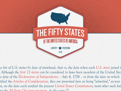 The Fifty States red blue america logo grain texture