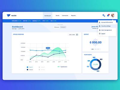 Dashboard - Investment Platform widgets pie chart diagram account charts web app application website web app dashboard