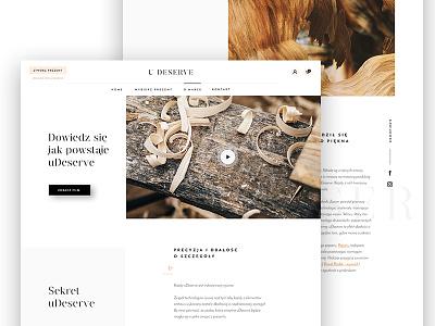 uDeserve - About Page minimalist modern video white clean wood e-commerce web development web design web website about
