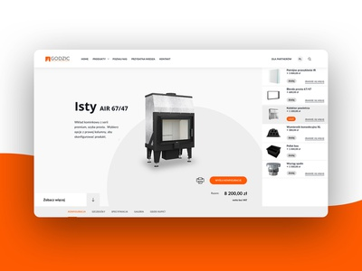 Product Configurator clean layout reseller engineering fireplace product details e-commerce configurator product ui ux website user interface web web design