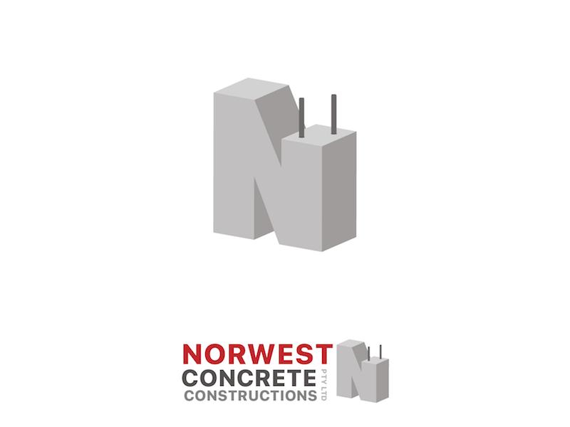 Norwest Concrete logo identity brand building construction concrete design logo