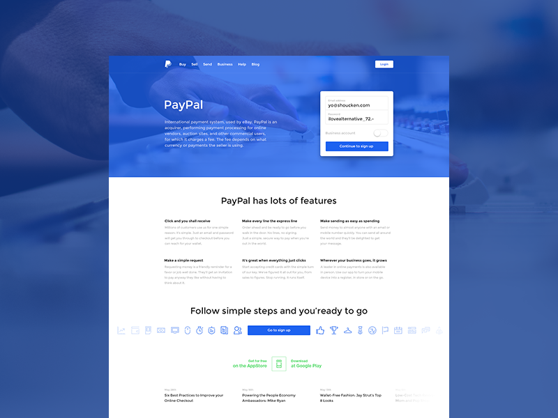 PayPal Site Redesign  paypal redesign site webdesign landing page landing form buttons