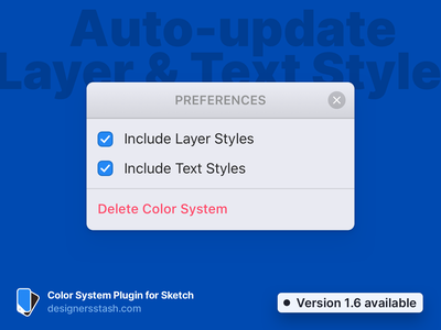 Color System Update 1.6 – Auto-update Styles mode dark light darkmode lightmode variable swatch system color plugin sketch
