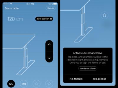 Desk Control App table illustration save terms remote desk ios mobile app
