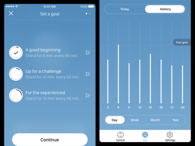Desk Control App - Tracking setup goal graph tracking statistics remote control app desk