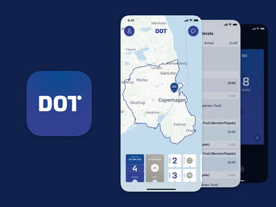 DOT – New ticket booking app icon bike location marker map zone route transportation metro bus train booking ticket mobile app