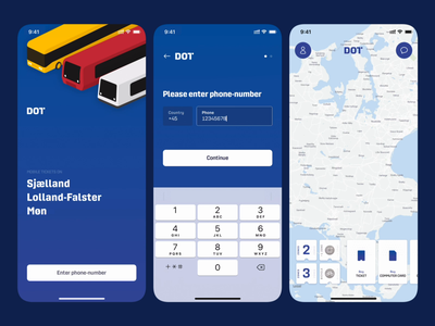 DOT – Onboarding & Sign in mobile sign up metro train bus commuting transportation text field input custom transition animation onboarding sign in login app