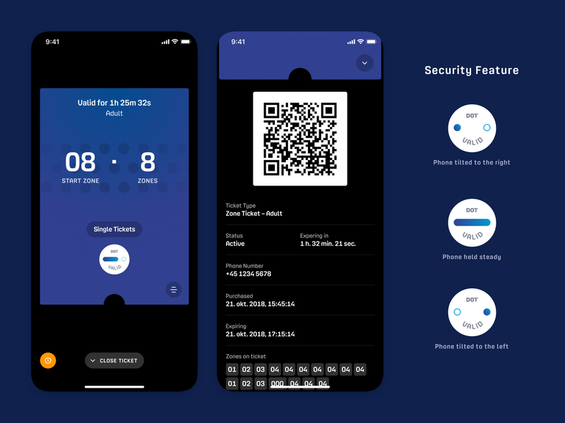 DOT – Tickets types transportation mobile expired valid swipe icon gyroscope zones informatoin security code qr ticket app