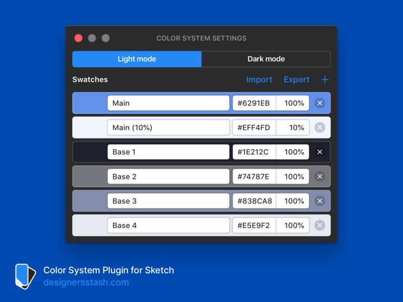 Color System – Update 1.5  – Import & Export system palette color export import sketch plugin light mode