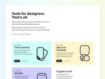 Designers Stash landingpage sketch plugin color system colors icon template resources